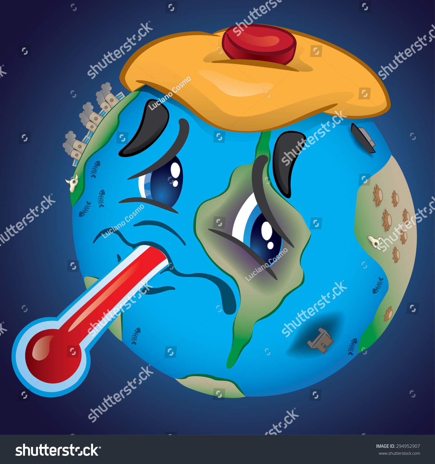 earth bruised saddened by pollution abuse stock vector 294952907