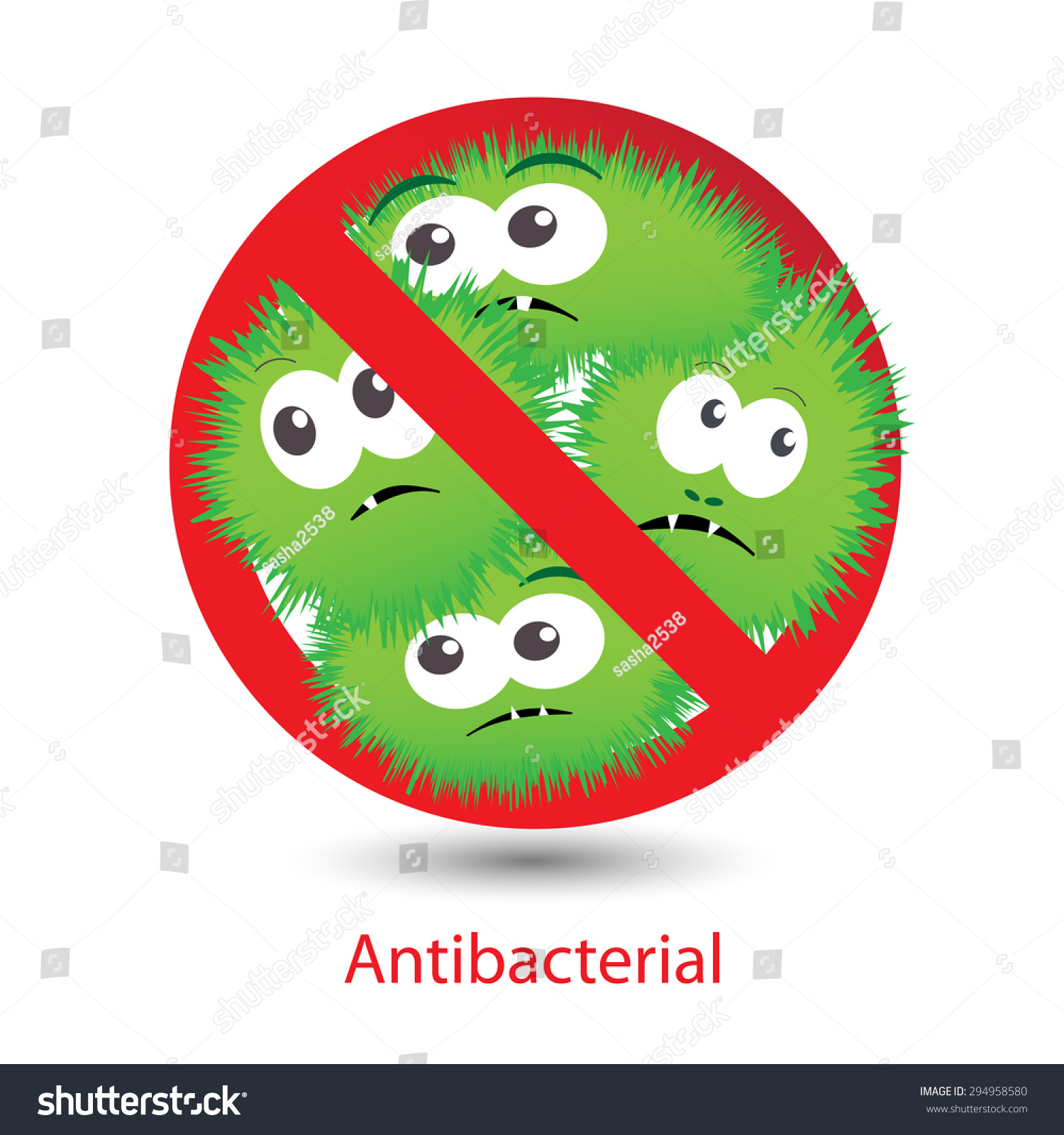 Antibacterial Sign With A Funny Green Cartoon Bacteria ...