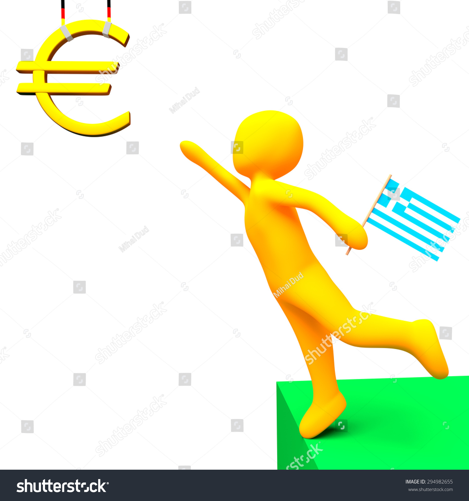 Person Greek Flag Reaching Golden Euro Stock Illustration 294982655