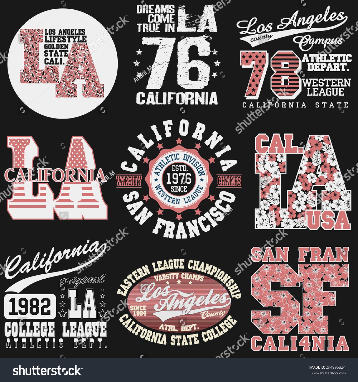 Shirt design los angeles - California T Shirt Fashion Typography Label Set Sport Emblem Design Los Angeles Graphic