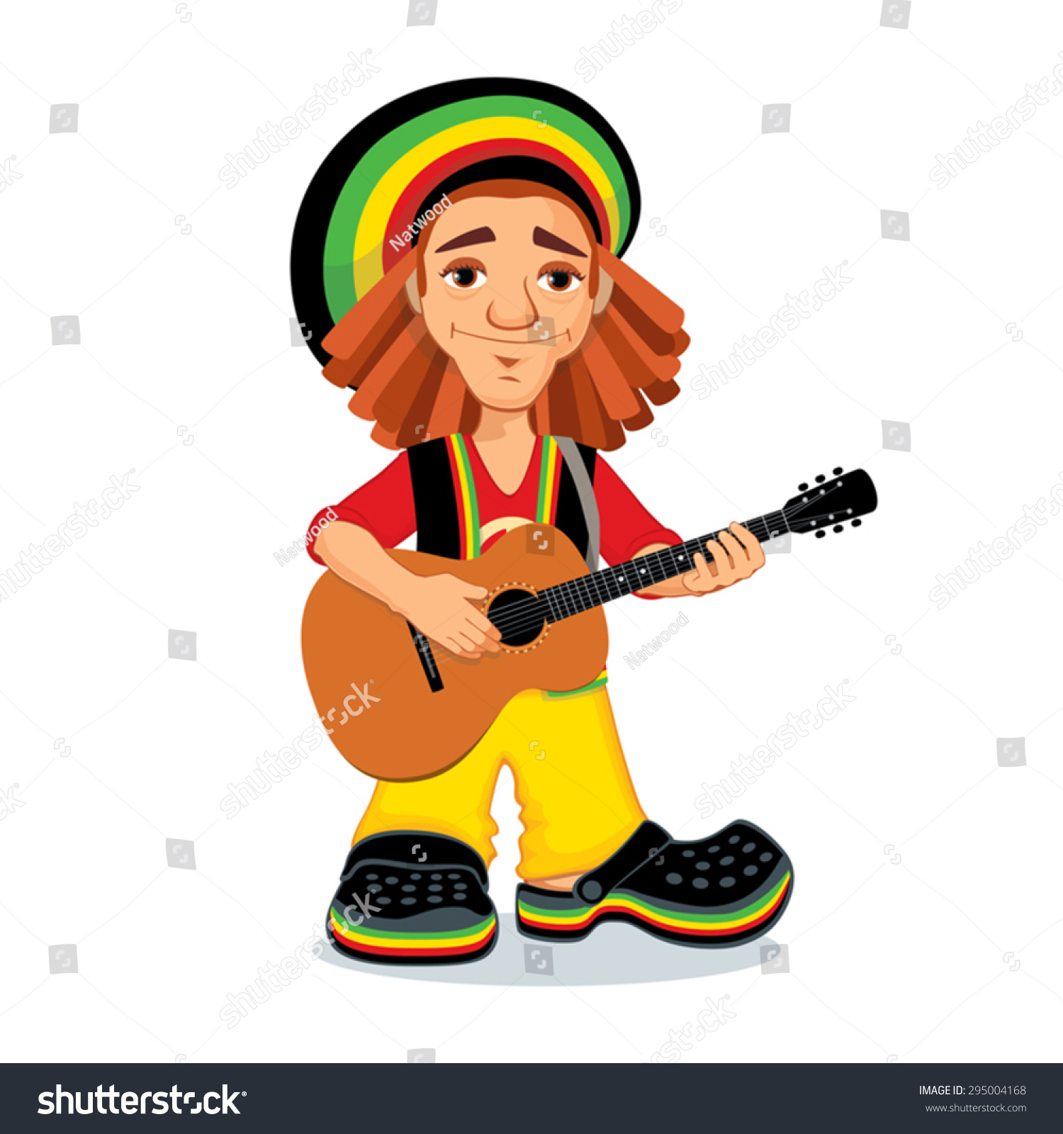 Vector Illustration Rastaman Playing Acoustic Guitar Stock ...