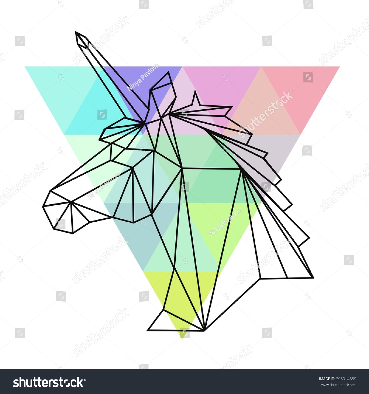 Vector Hipster Abstract Geometric Unicorn Triangle Stock