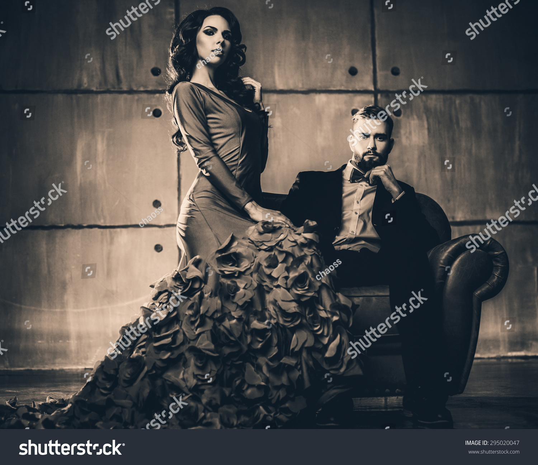 Stock Photo Young Elegant Couple In Evening Dress Portrait Retro Film ...