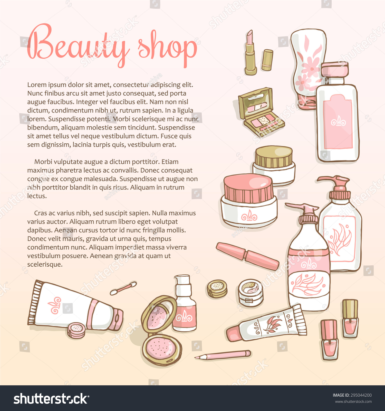 hand drawn flyers template makeup products stock vector  hand drawn flyers template for make up products doodle cosmetics background for corporate identity