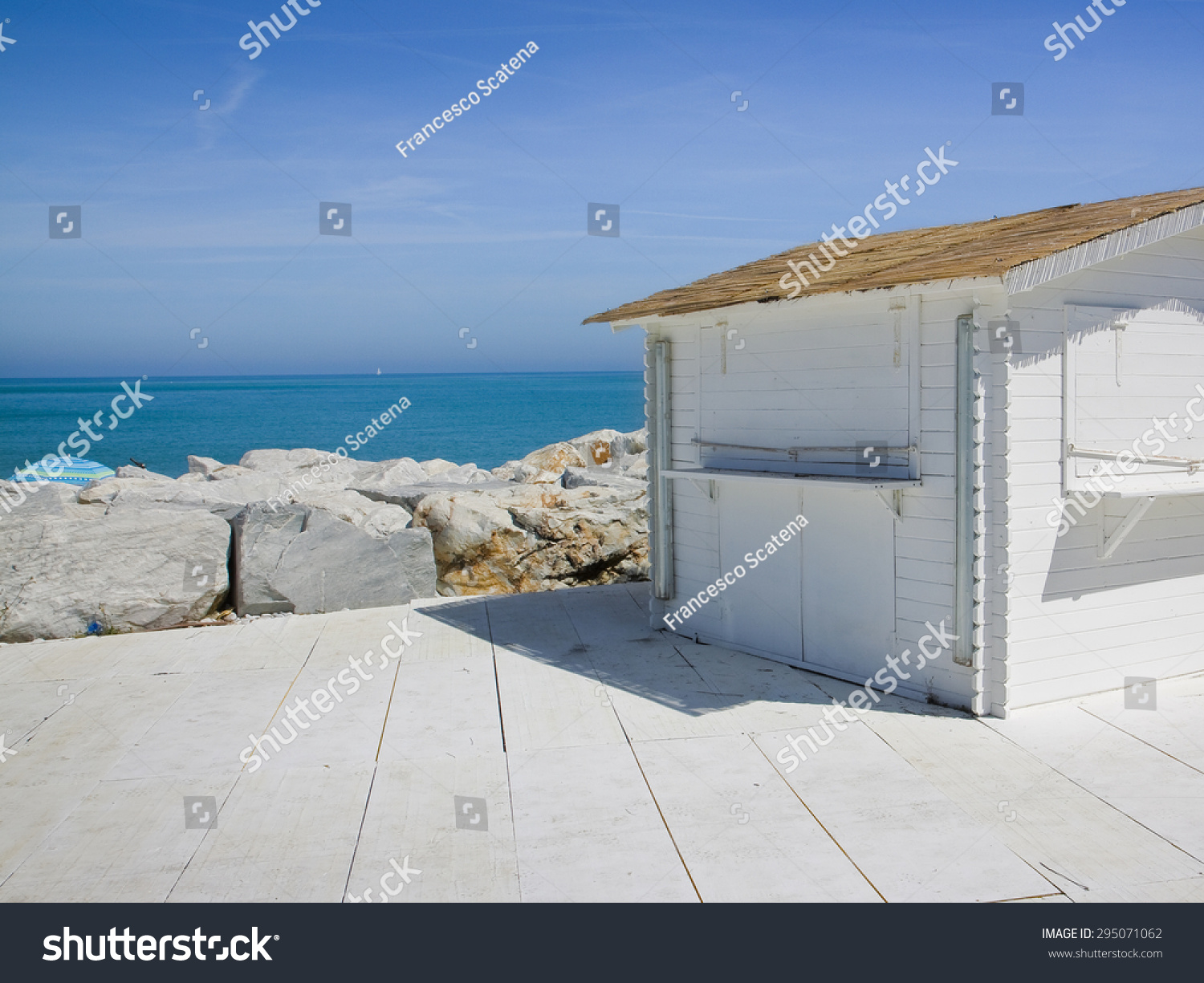 Small White Cottage By Sea Image Stock Photo 295071062