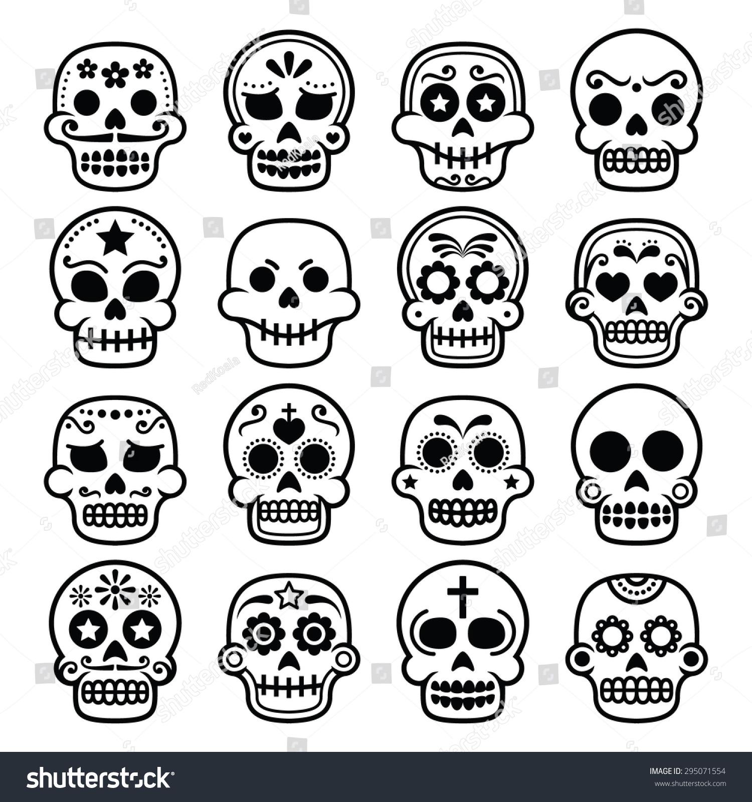 halloween mexican sugar skull dia de los muertos cartoon icons - Halloween Dia