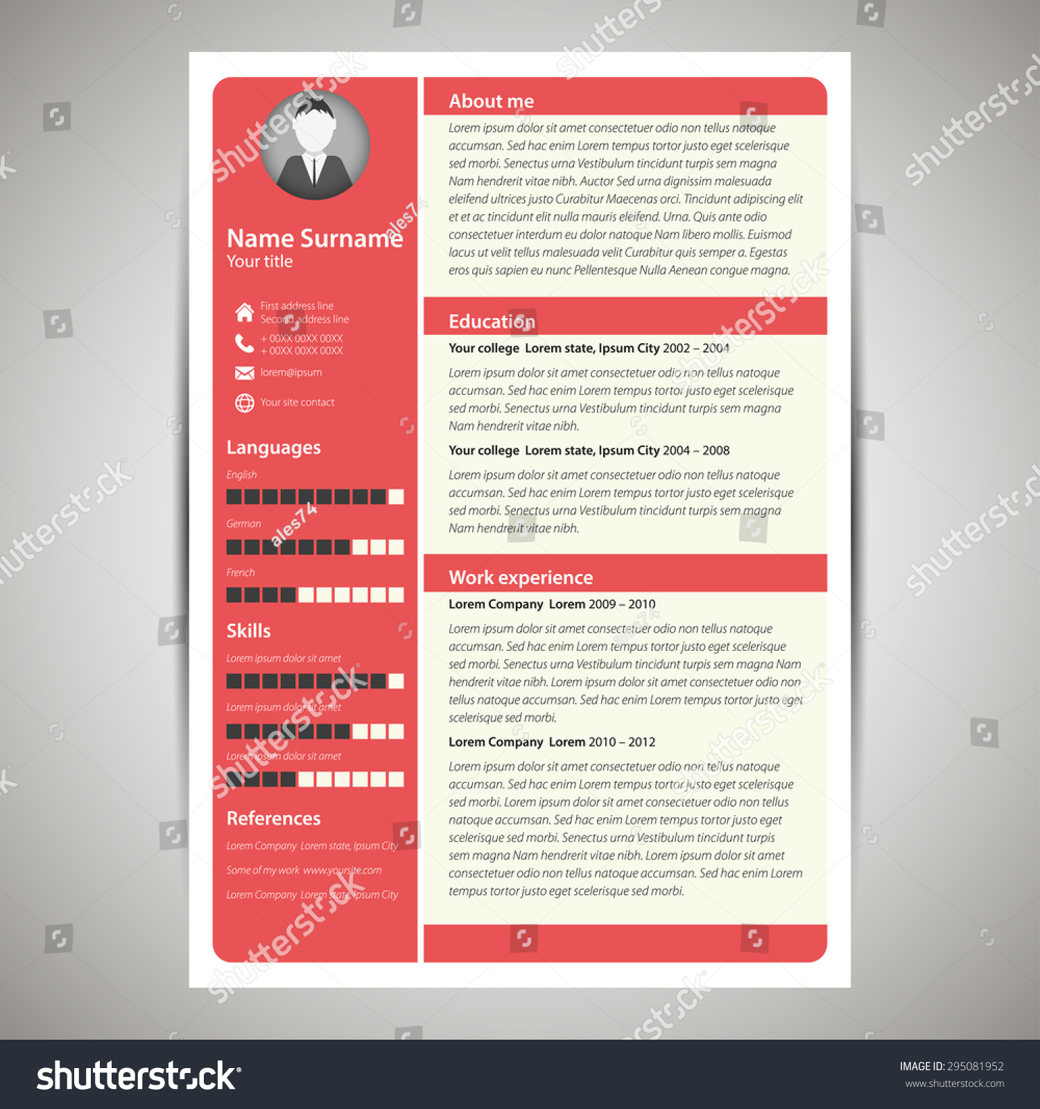 resume Flat Resume Design red flat resume cv template stock vector 295081952 shutterstock and template