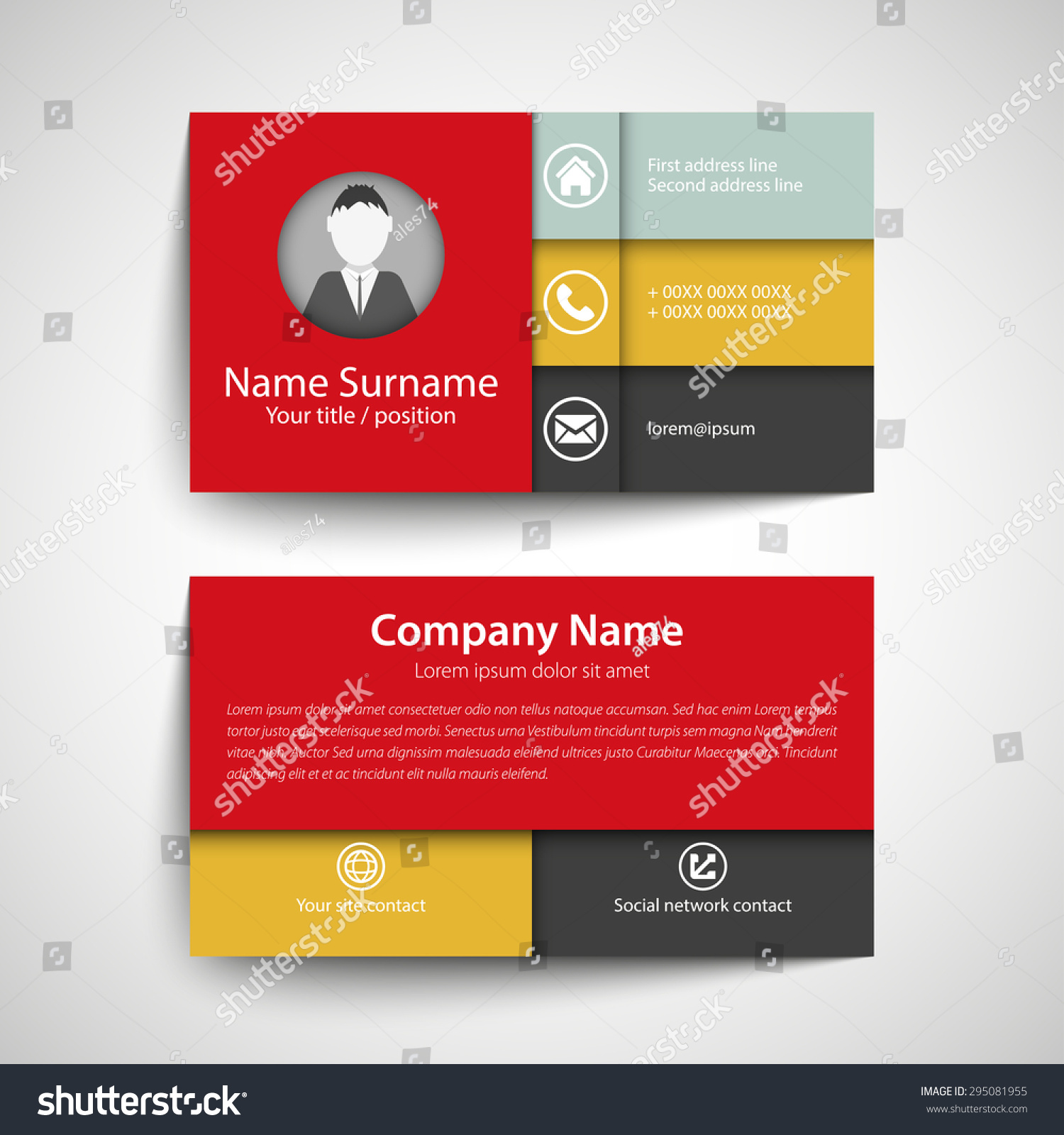 Modern simple red orange business card stock vector 295081955 modern simple red orange business card set template or visiting card magicingreecefo Choice Image