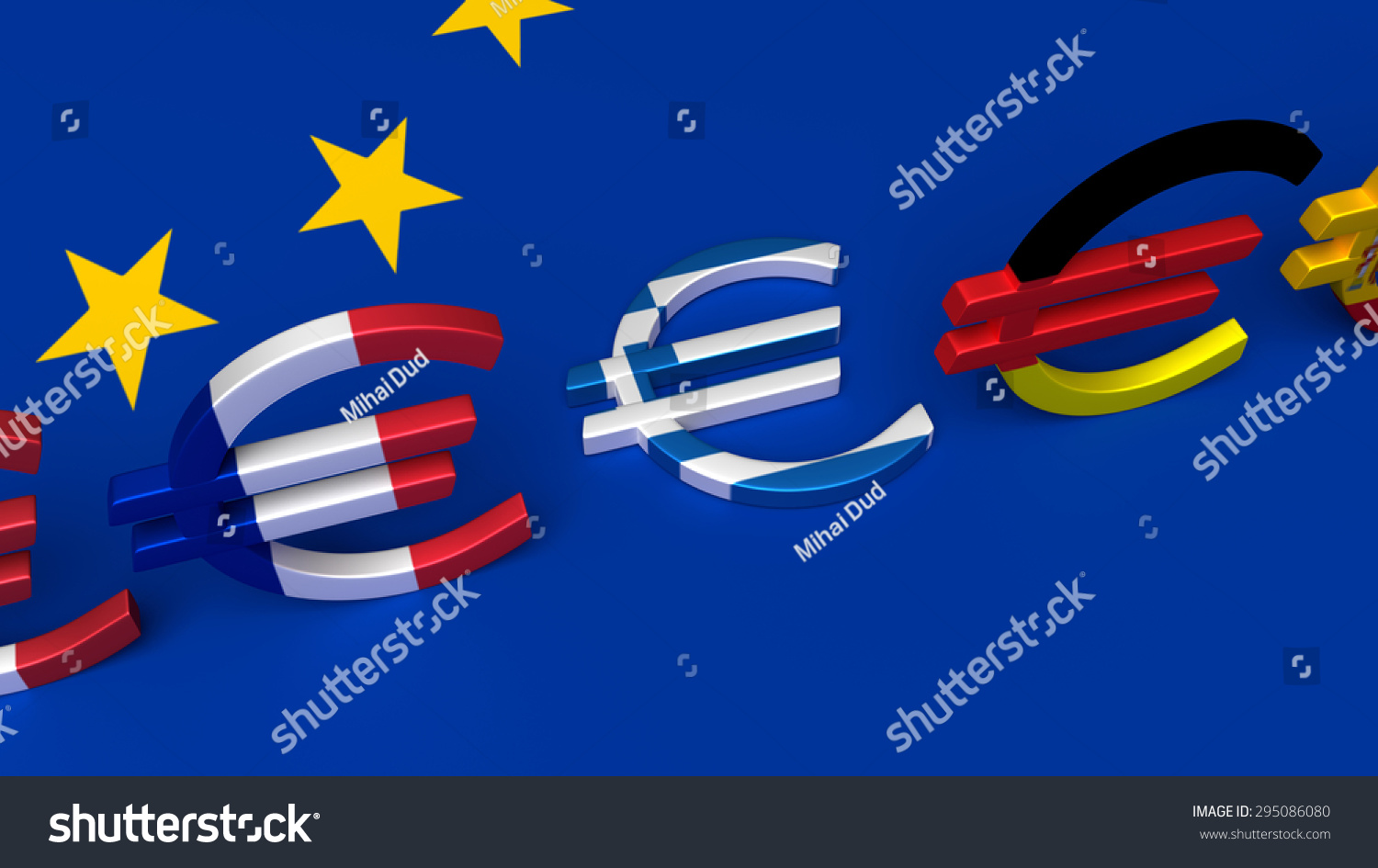 Five Euro Symbols Three Them Colored Stock Illustration 295086080
