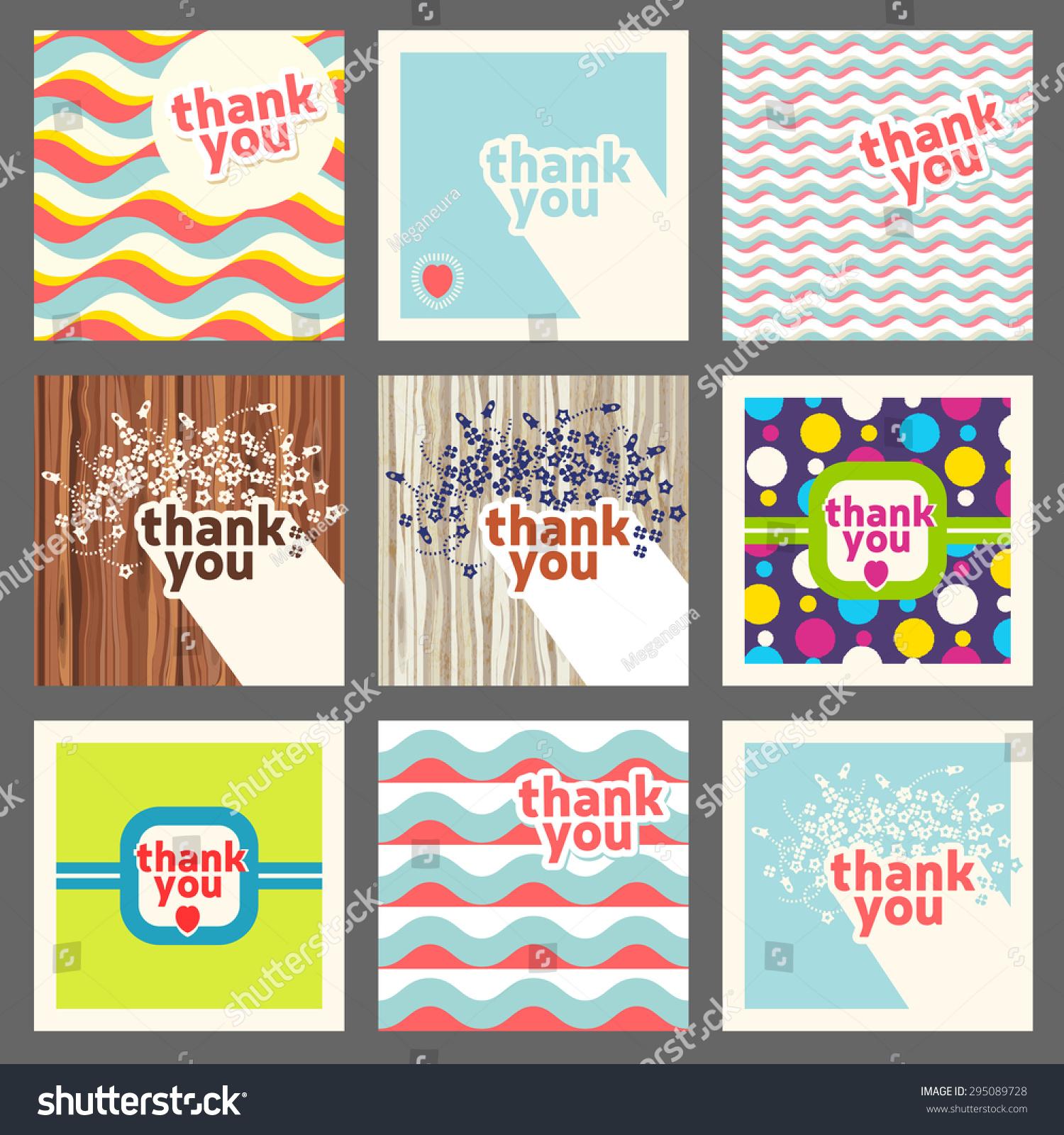 Thank you card design template set. Retro style