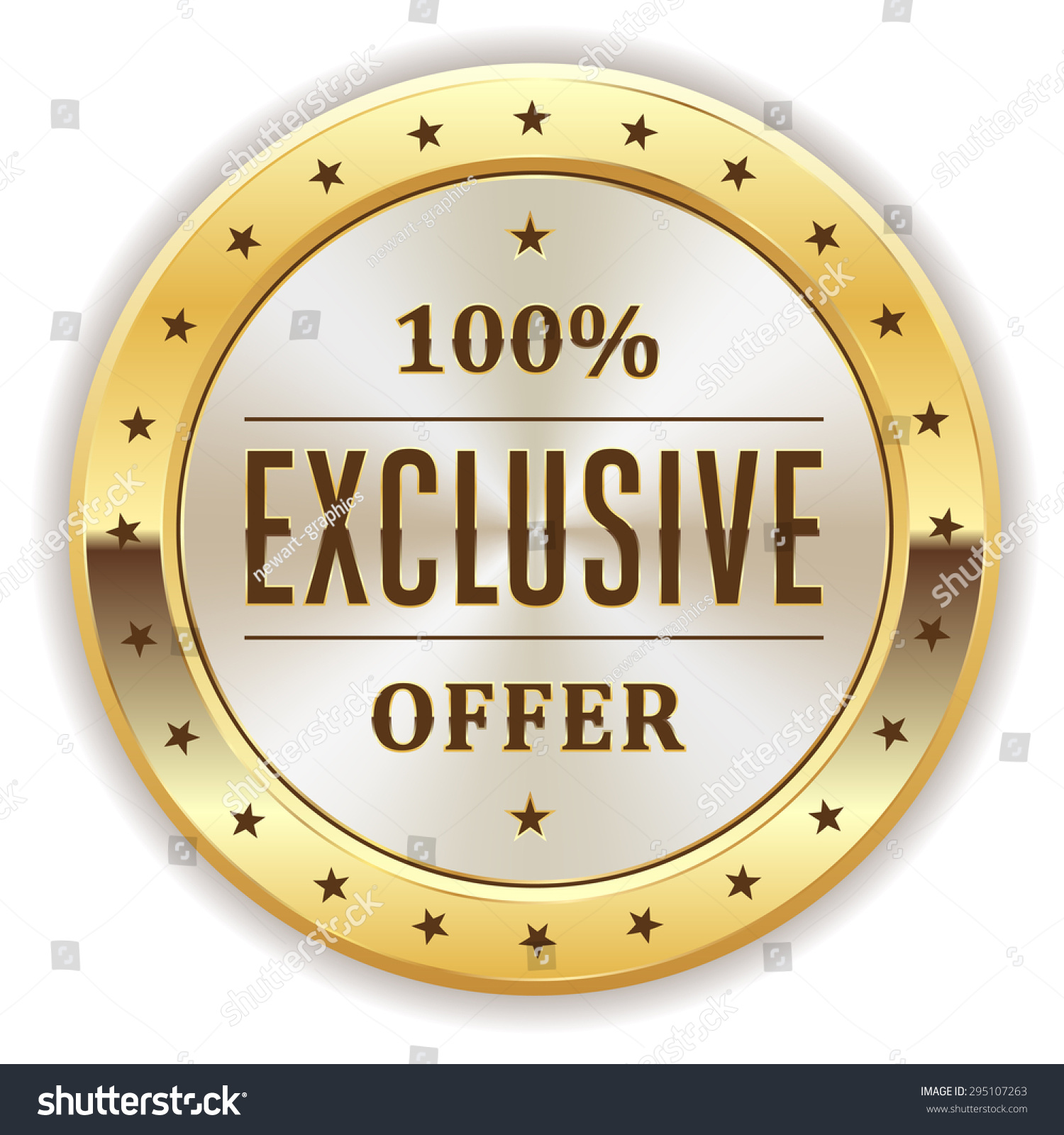 White exclusive offer badge gold border stock vector for Exclusive bordering