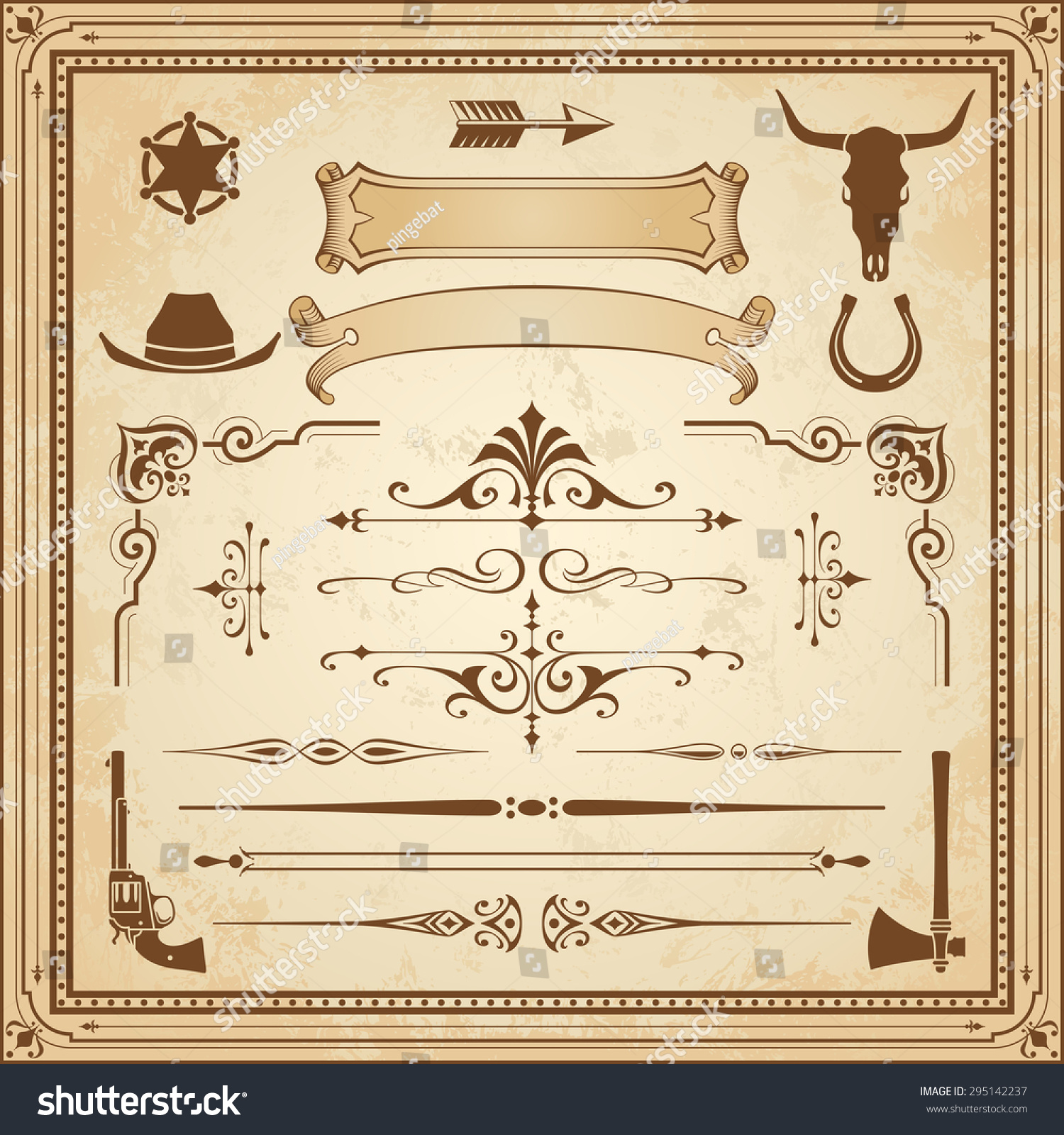 Collection Wild West Ornament Frames Rulers Stock Vector 295142237 ...