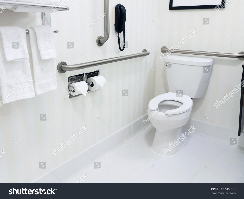 Handicapped Access Bathroom Grab Bars Toilet Stock Photo 295152173