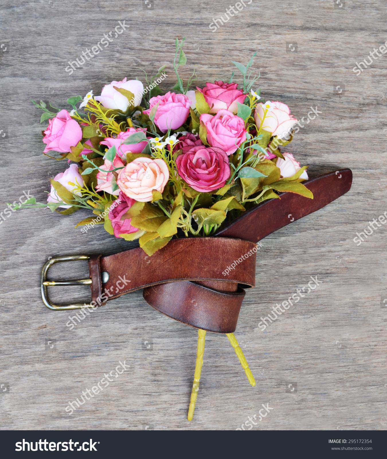 Vintage Leather Belt Strap Fit Flowers Stock Photo Edit Now