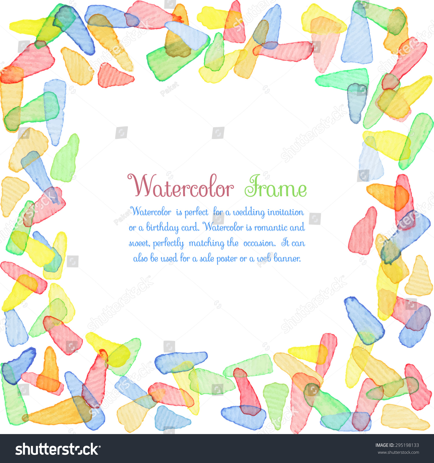 hand painted water color frame with text cute decorative template bright colorful border panels