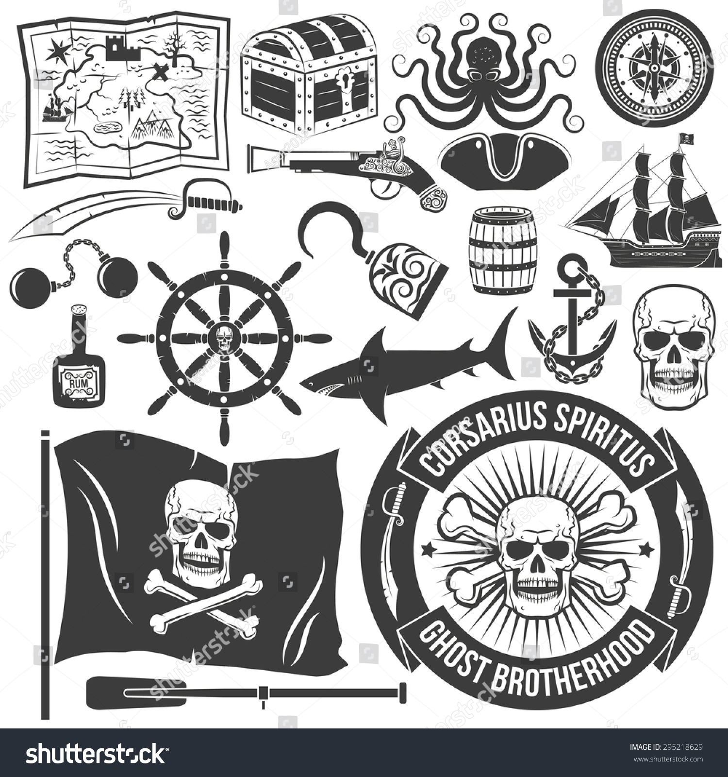 set create logo pirate tattoos marine stock vector 295218629 shutterstock. Black Bedroom Furniture Sets. Home Design Ideas