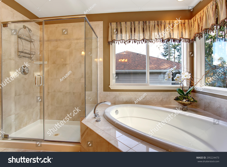 Large Elegant Master Bathroom Shower Big Stock Photo (Edit Now ...
