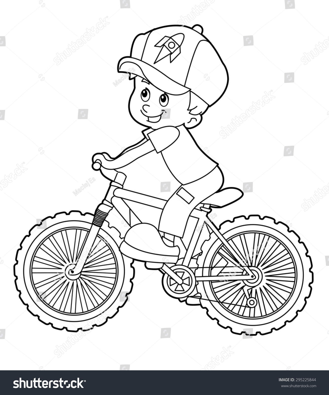 cartoon kid riding bicycle coloring page illustration for the children - Bicycle Coloring Book