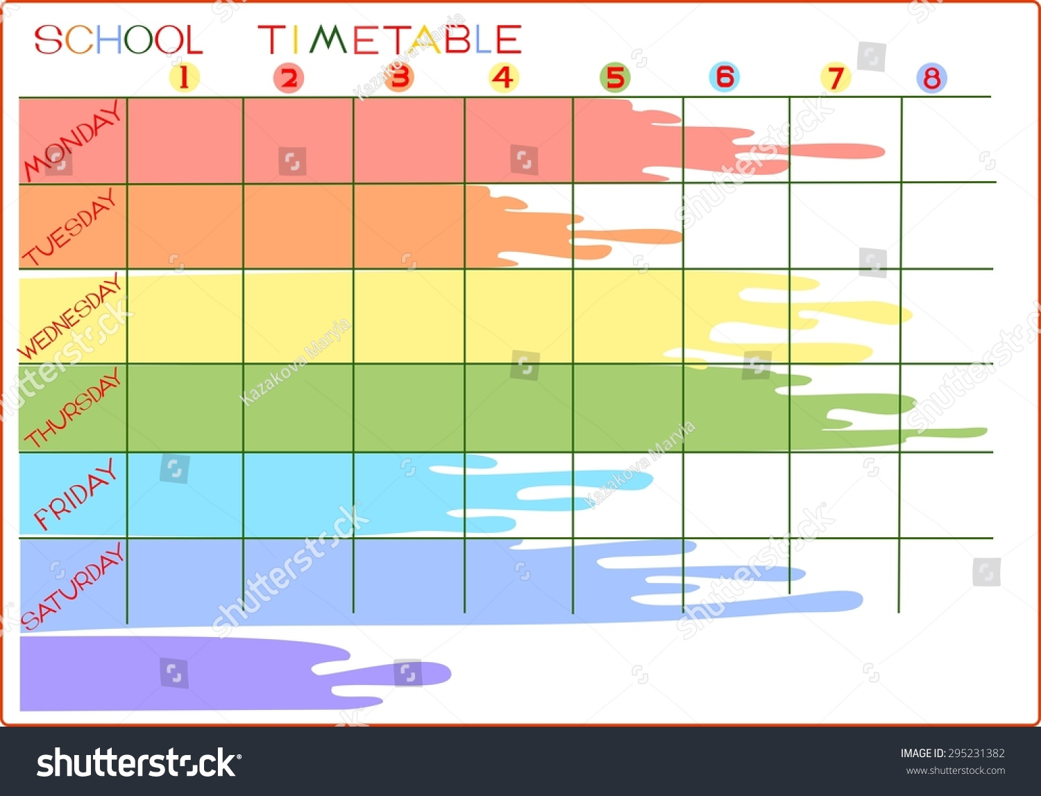 School Timetable Illustration 295231382 Shutterstock – School Time Table Designs