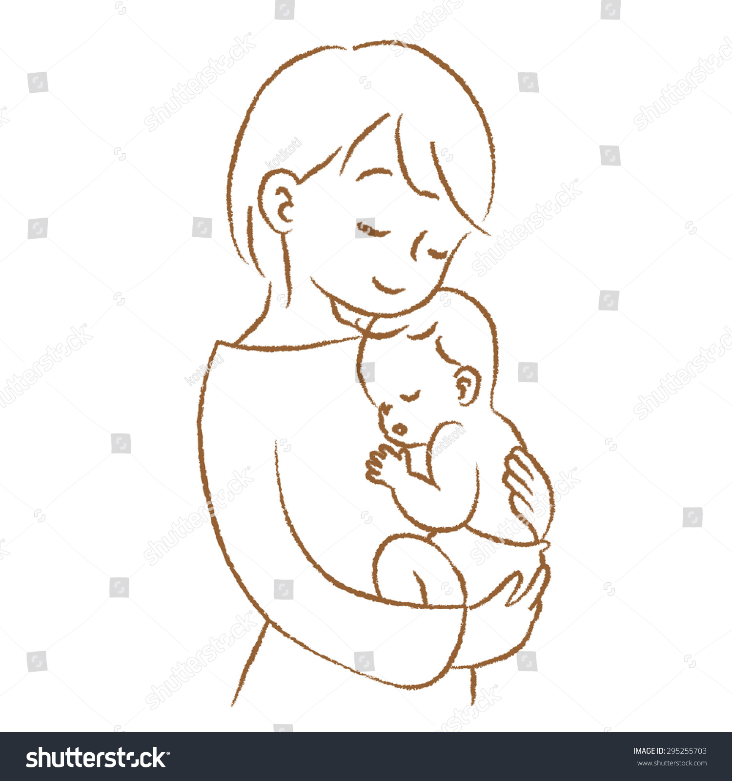 Line Art Baby : Royalty free mom to hug the baby quot line drawing