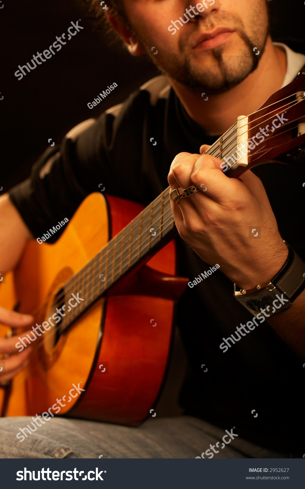 Rock Star Plays Acoustic Guitar On Stock Photo (Edit Now