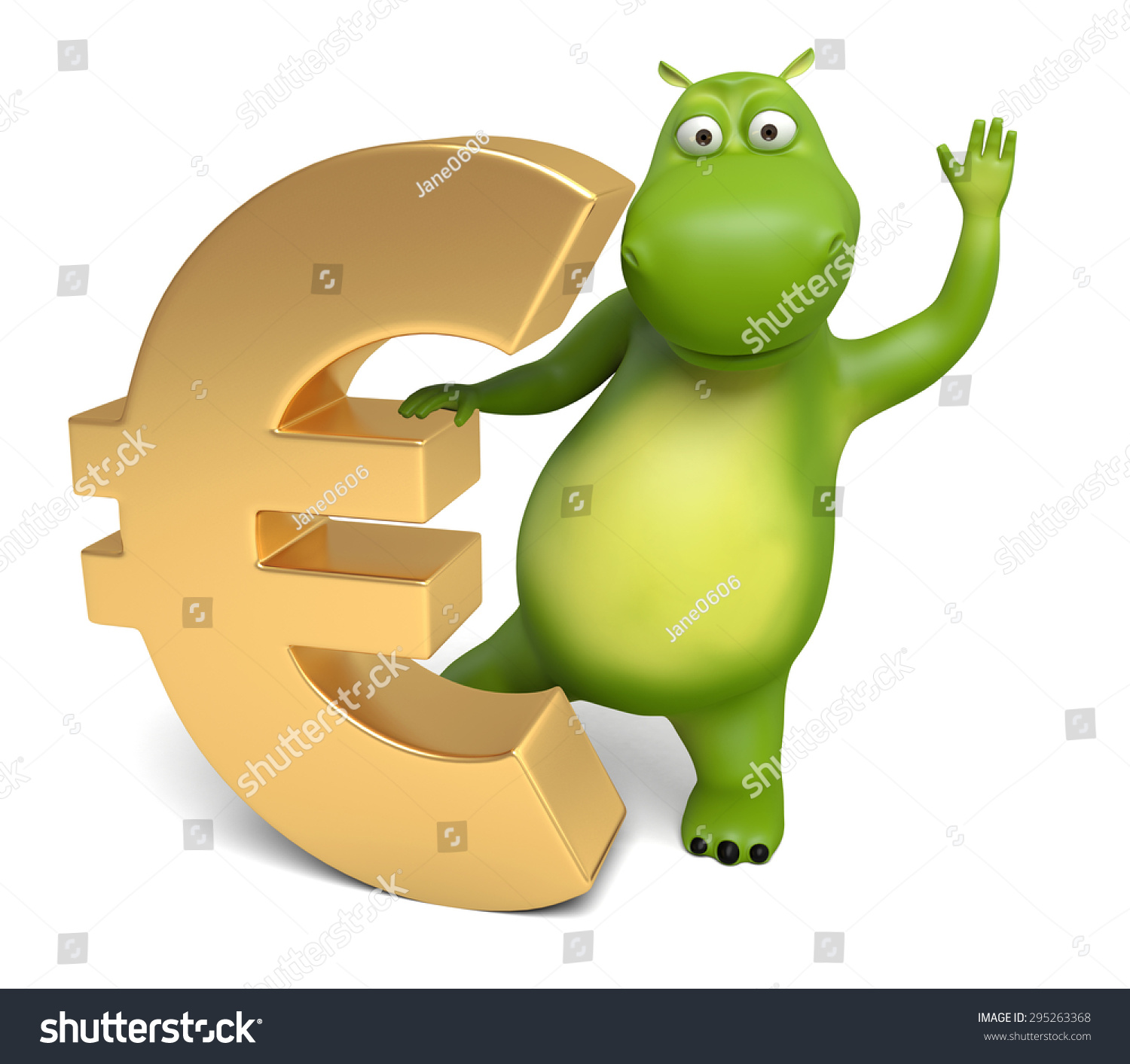 3 D Cartoon Animal Euro Currency Symbol Stock Illustration 295263368