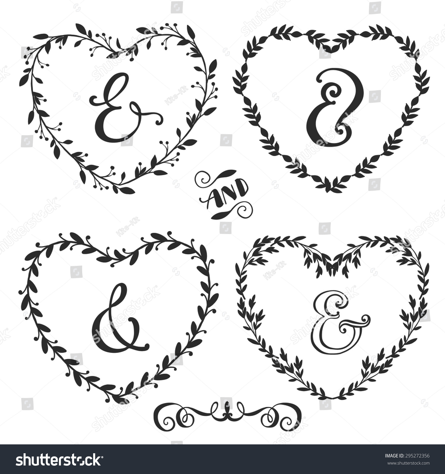 hand drawn rustic vintage heart wreaths with lettering floral vector graphic nature design elements