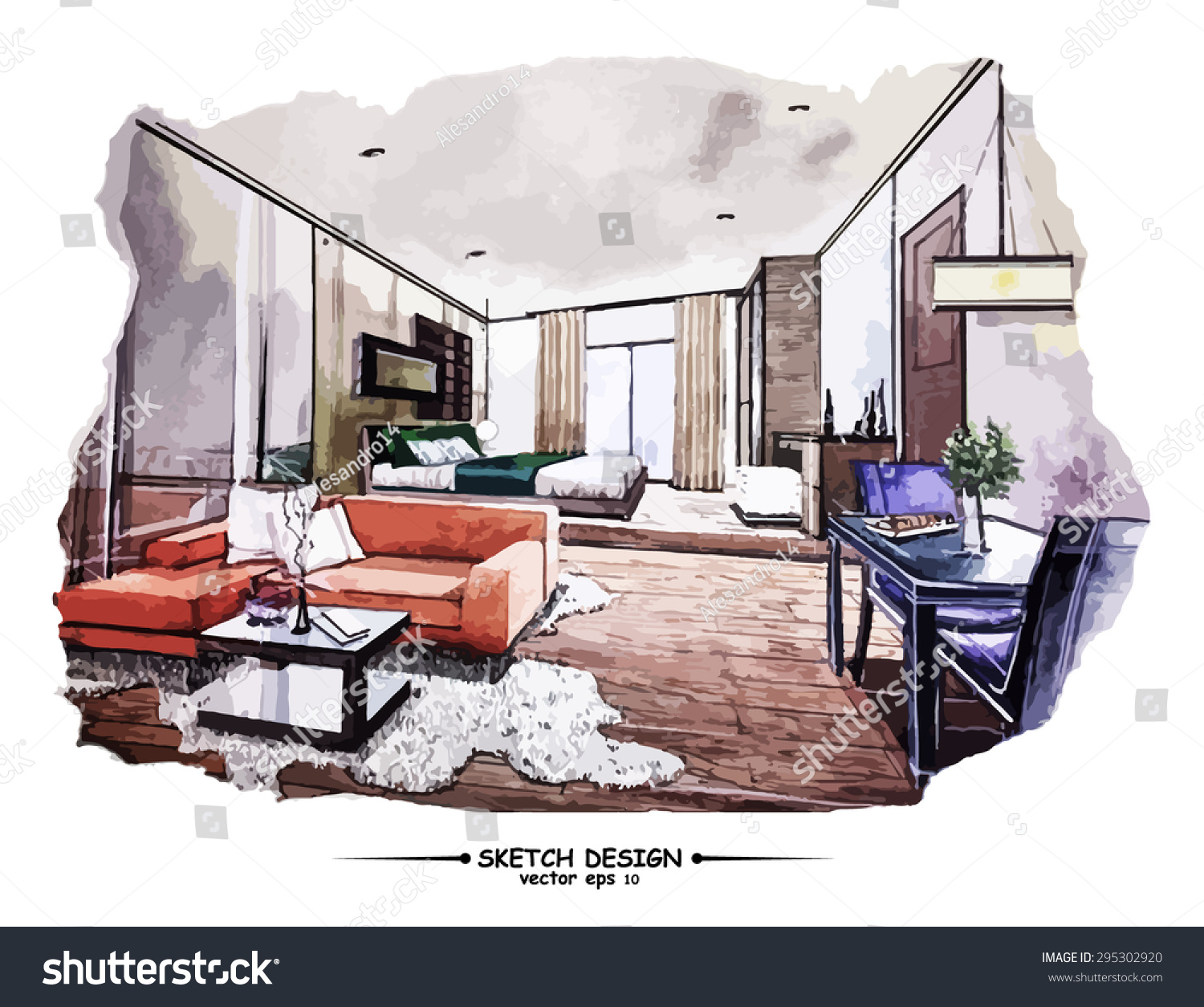Interior Design Sketch: Vector Interior Sketch Design Watercolor Sketching Stock