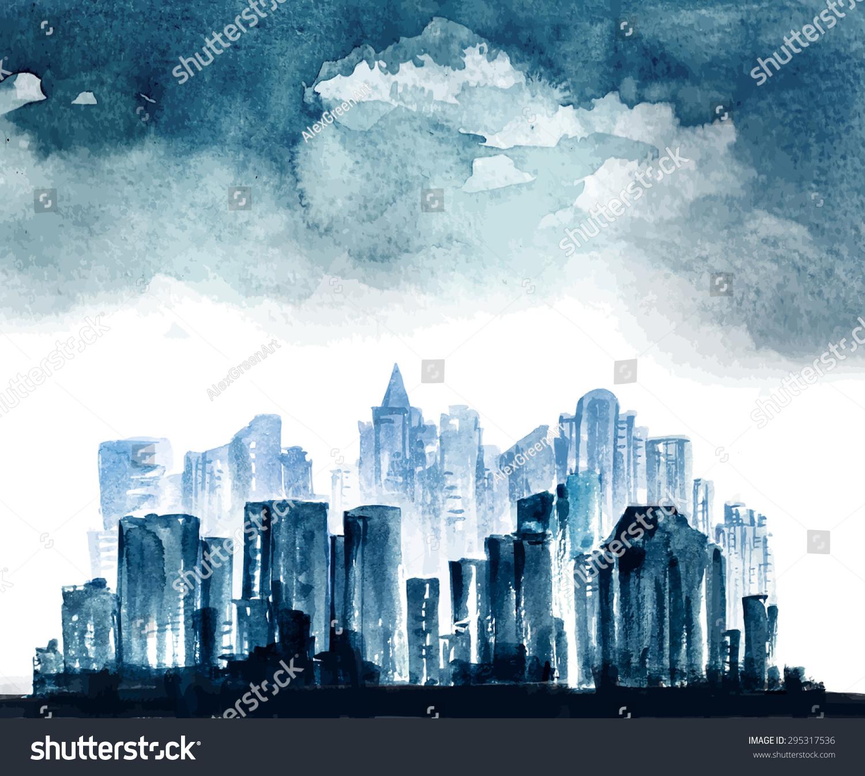 Night City Vector Watercolor Drawing 295317536