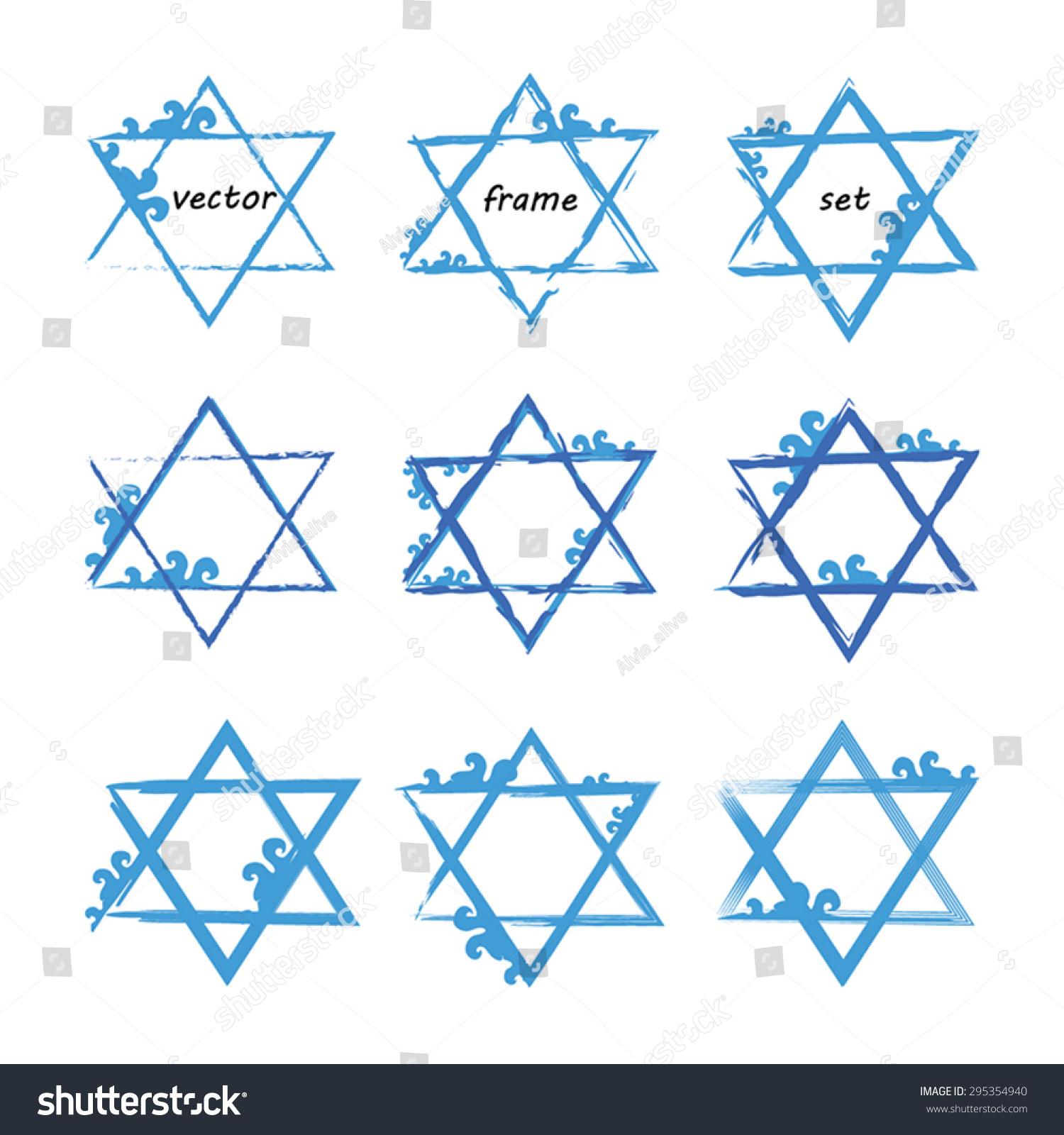 Jewish Star Set 9 David Stock Vector Royalty Free 295354940