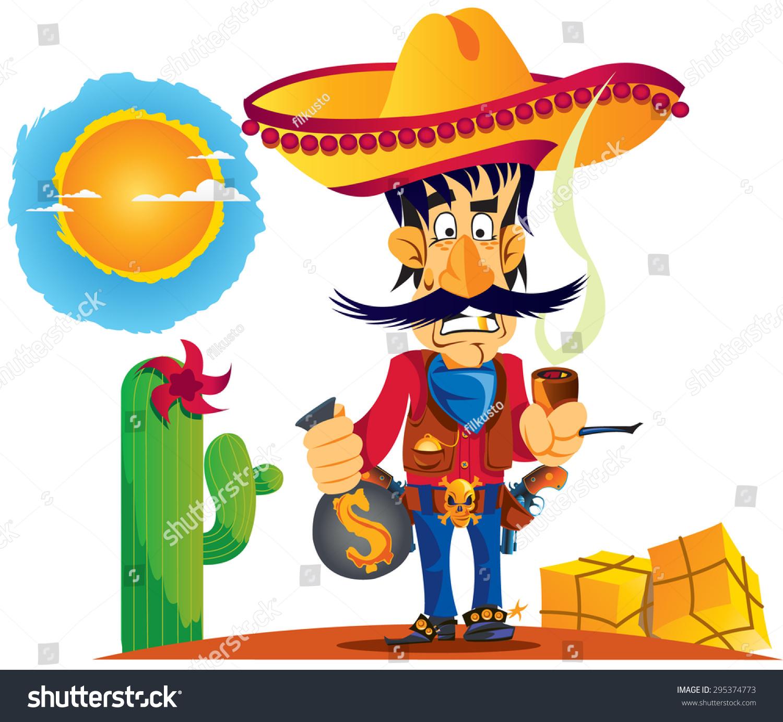 Mexican Man Head With Traditional Sombrero:  Mexican Man Stock Vector 295374773