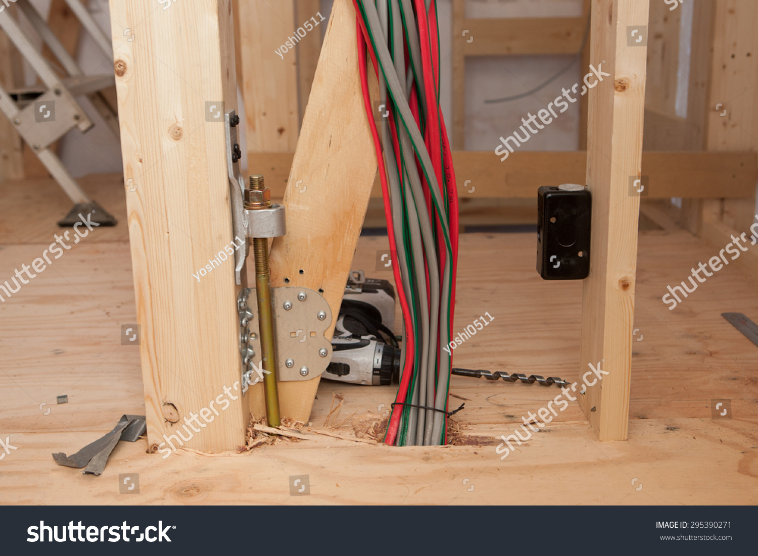 Electrical wiring work housing construction stock photo 295390271 electrical wiring work of housing construction greentooth Image collections
