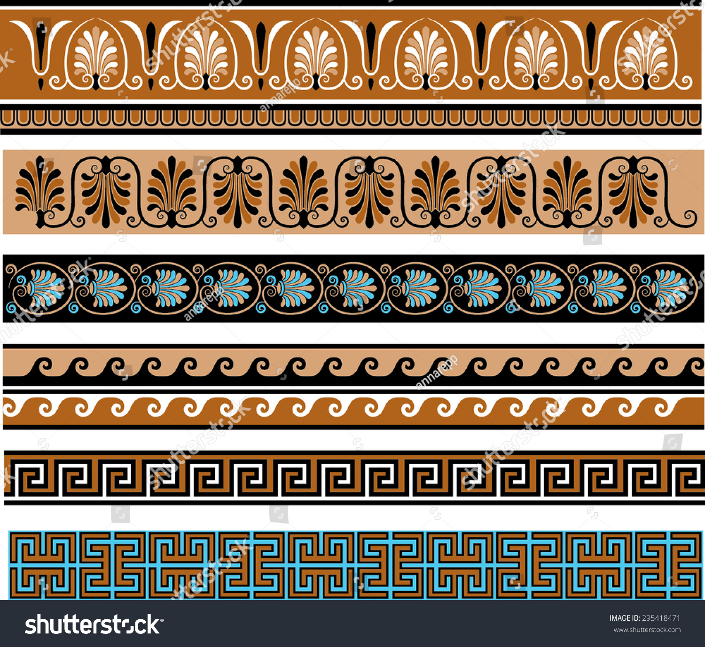 Ancient greece themed decorative borders set stock vector for Greche decorative
