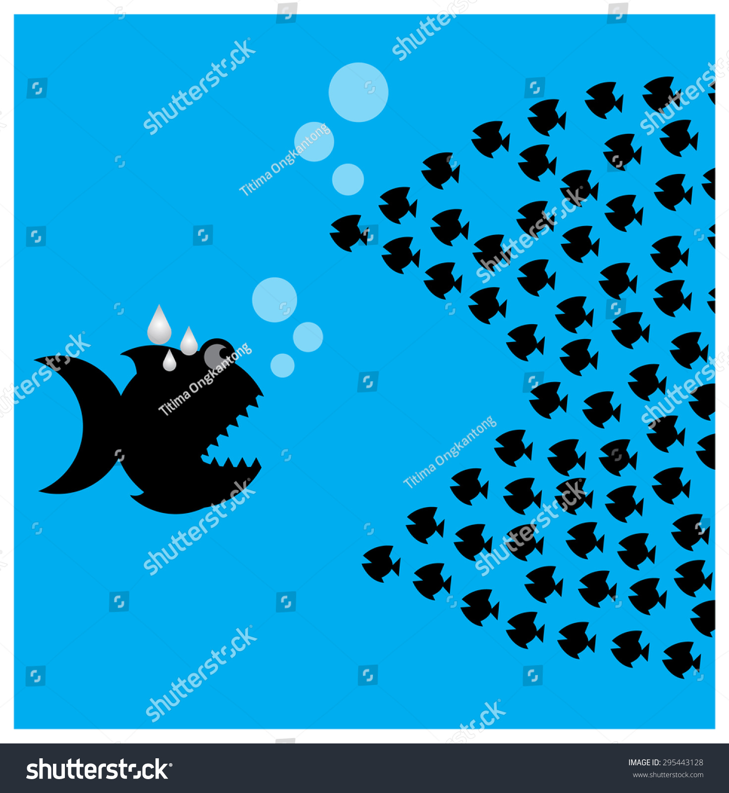 Little Fish Eat Big Fish Unity Stock Vector 295443128