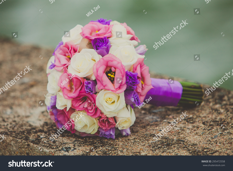 Brides Bouquet Purple Pink White Flowers Stock Photo 295472558 ...