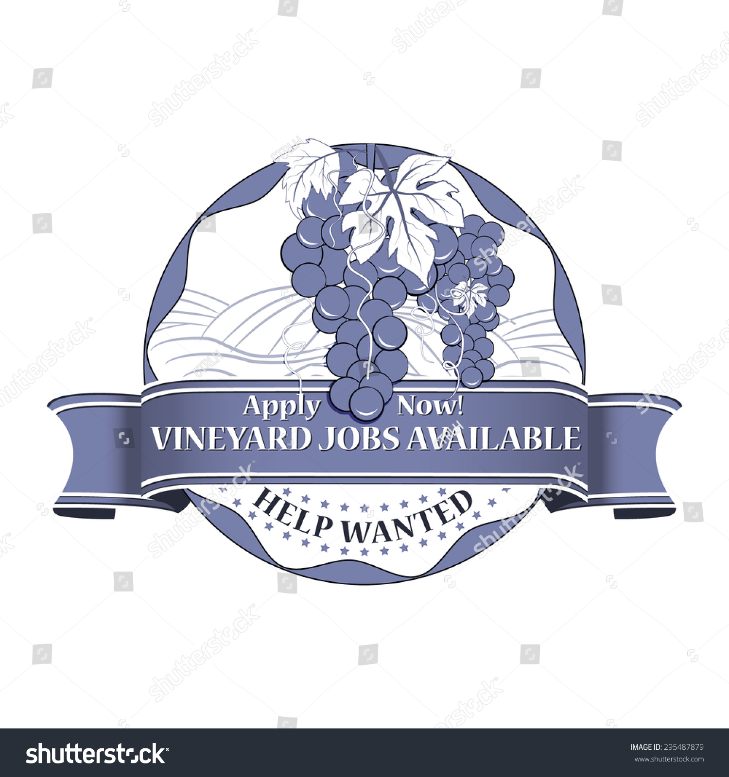 Vineyard Jobs Available Stamp Print Agricultural Stock Vector
