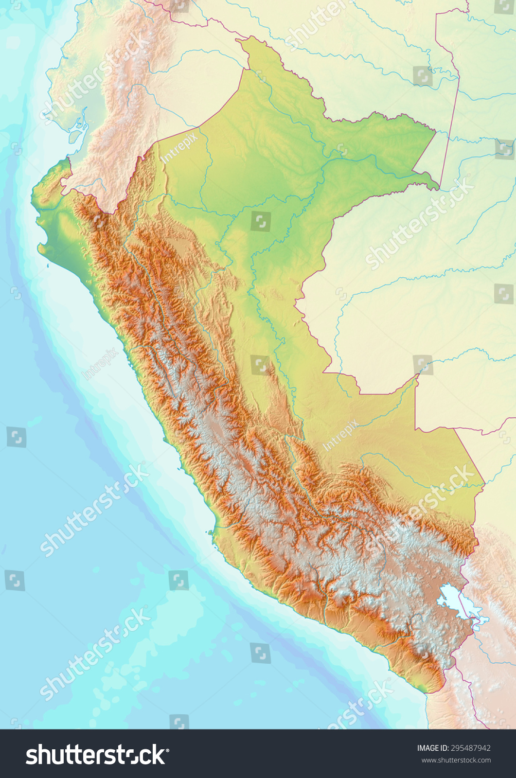 Topographic map peru shaded relief elevation stock illustration topographic map of peru with shaded relief and elevation colors elements of this image furnished gumiabroncs Choice Image