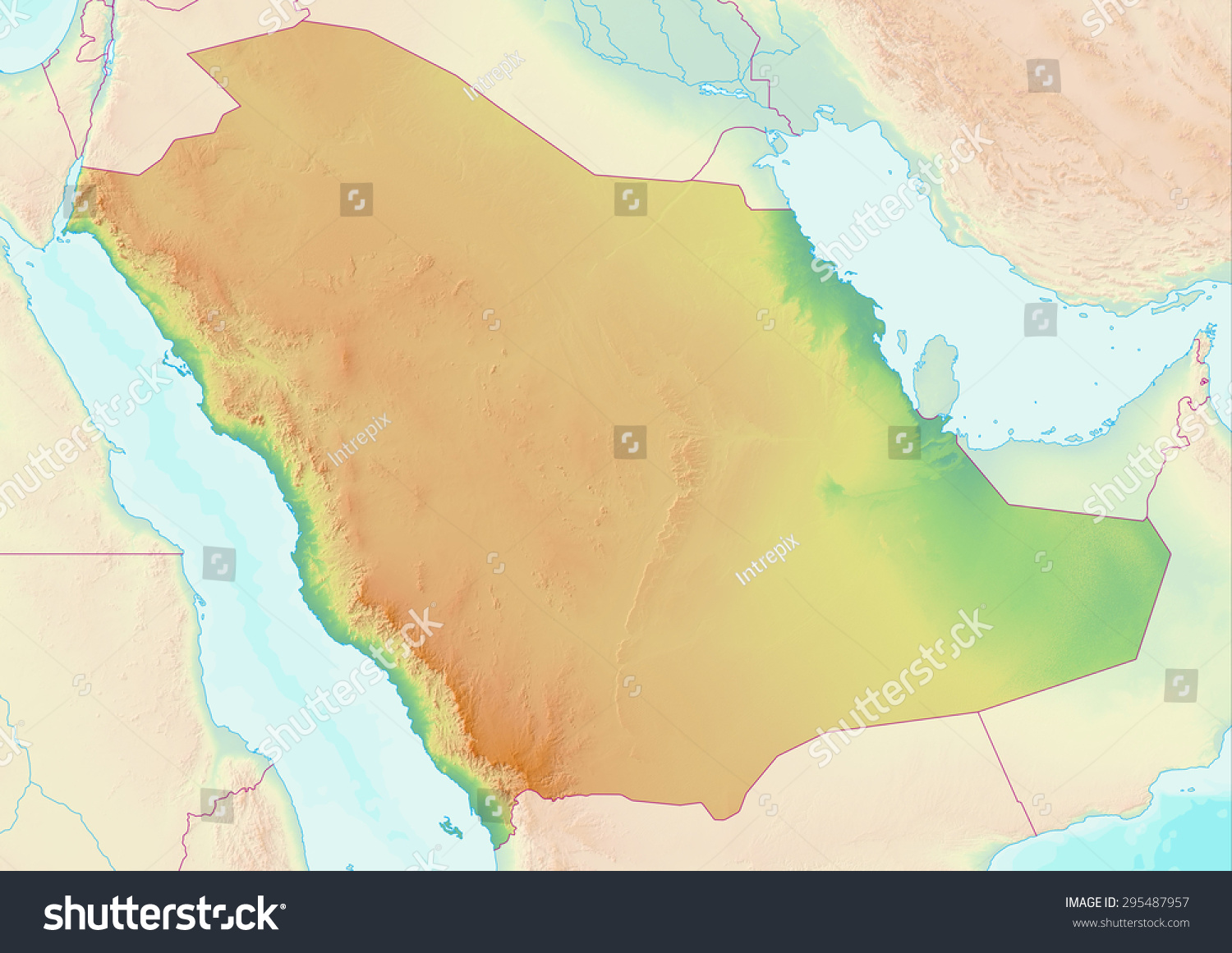 Topographic Map Saudi Arabia Shaded Relief Stock Illustration