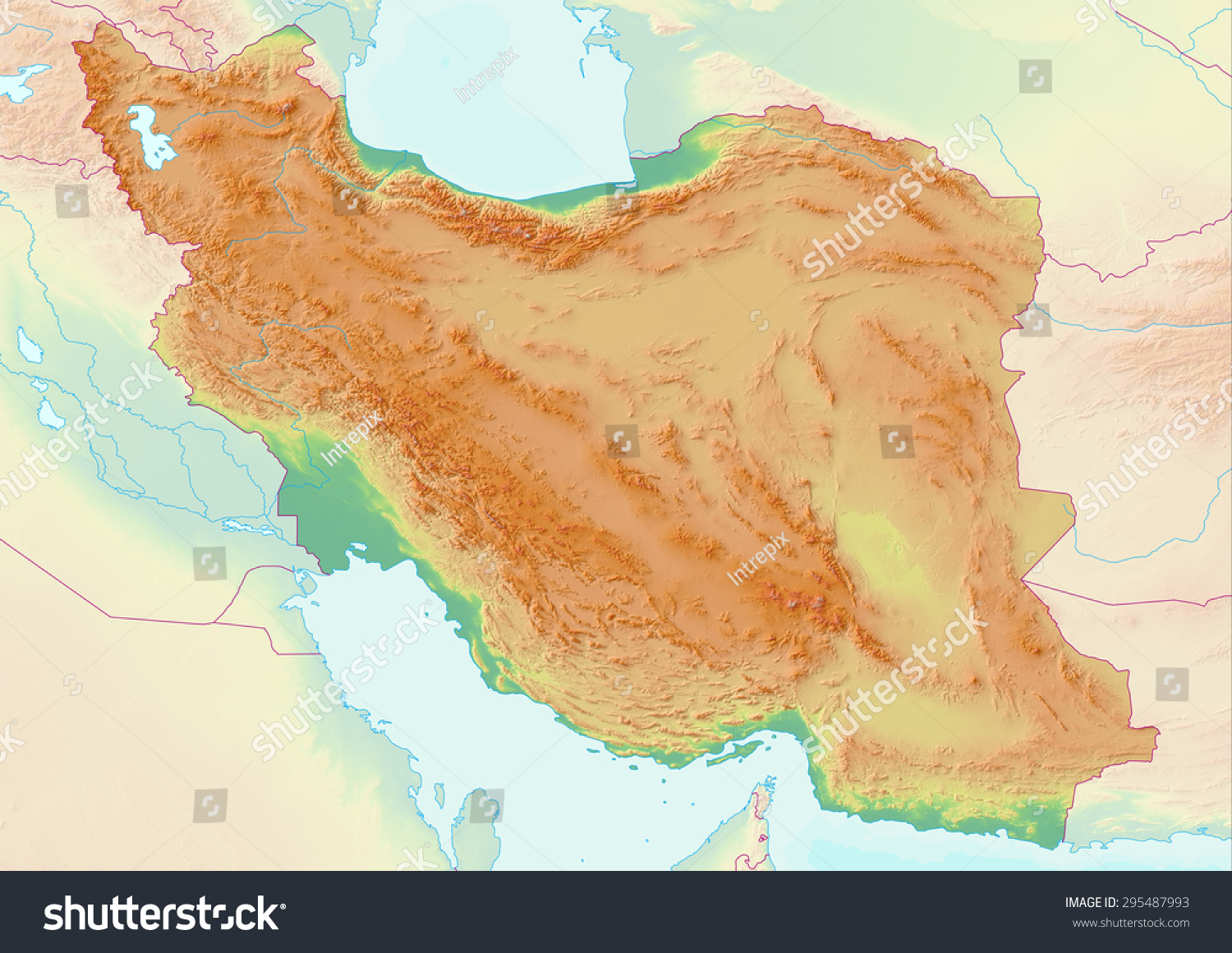 topographic map of iran with shaded relief and elevation colors elements of this image furnished
