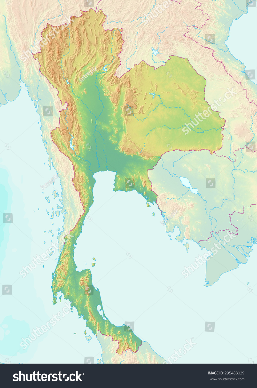 Topographic Map Of Thailand With Shaded Relief And ...