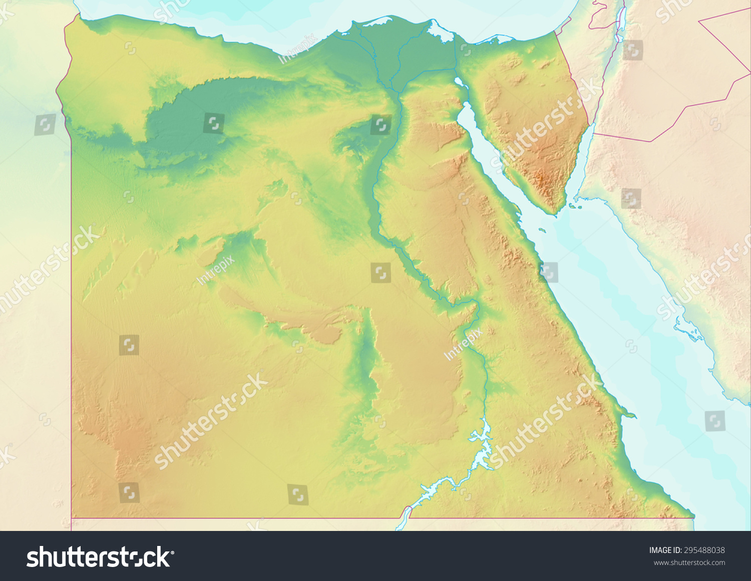 Topographic Map Egypt Shaded Relief Elevation Stock Illustration