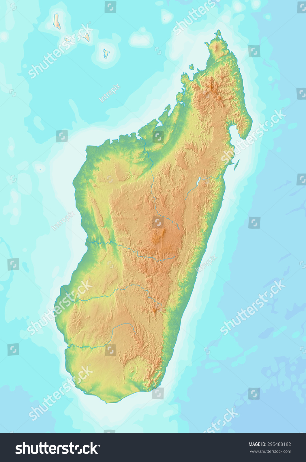 Topographic Map Of Madagascar.Royalty Free Stock Illustration Of Topographic Map Madagascar Shaded