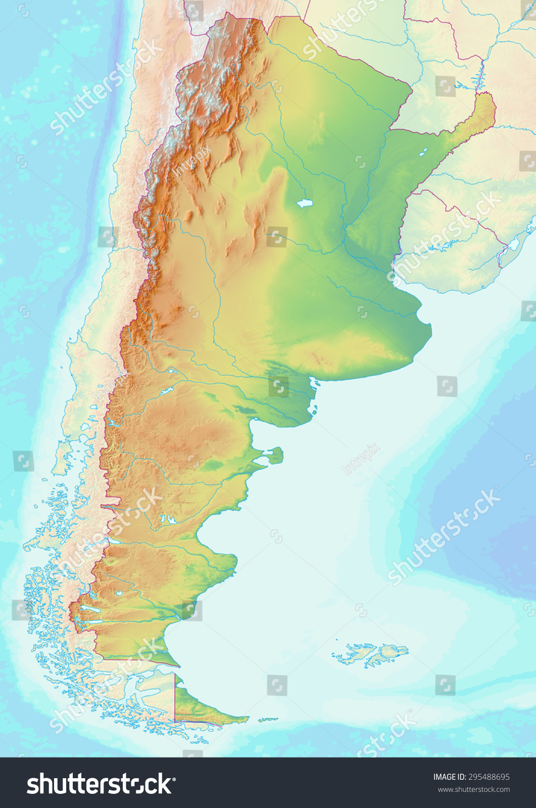 Topographic Map Argentina Shaded Relief Elevation Stock - Argentina elevation map