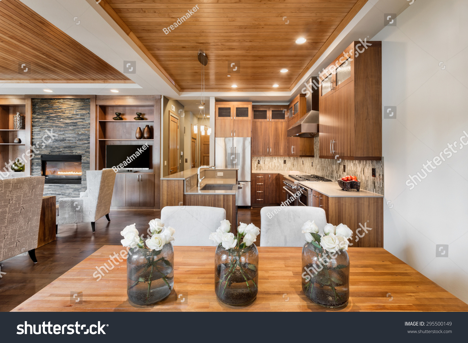 Beautiful home interior open floor plan stock photo for Beautiful ceilings and interiors