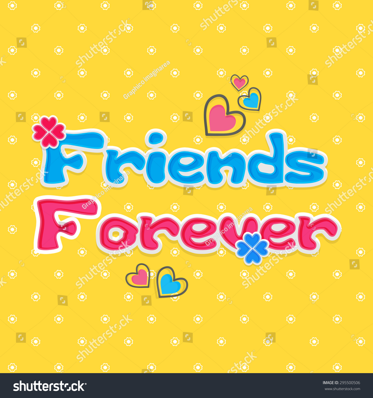 Beautiful Friends Forever Greeting Friendship Day Stock Vector
