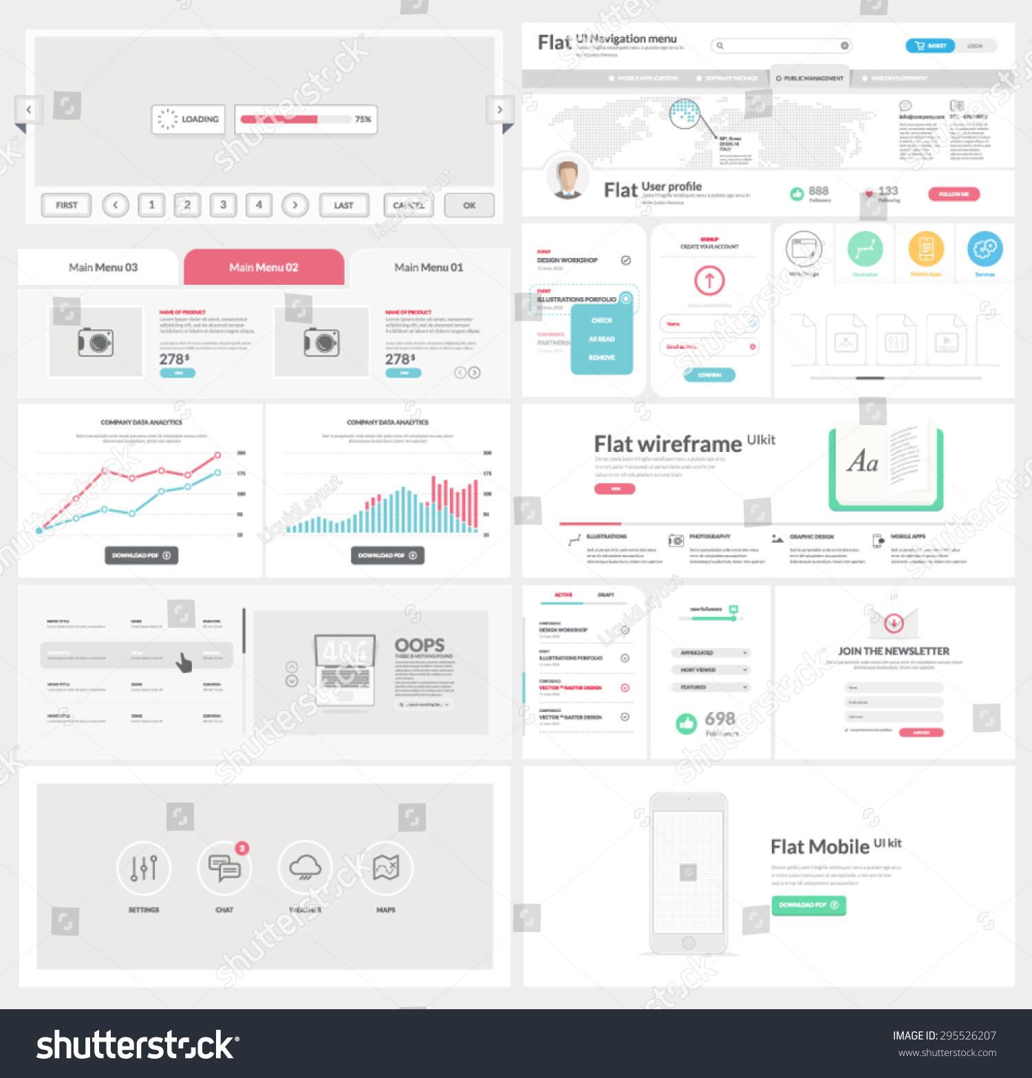 Flat Ui Kit Template Website Mobile Stock Vector 295526207 ...