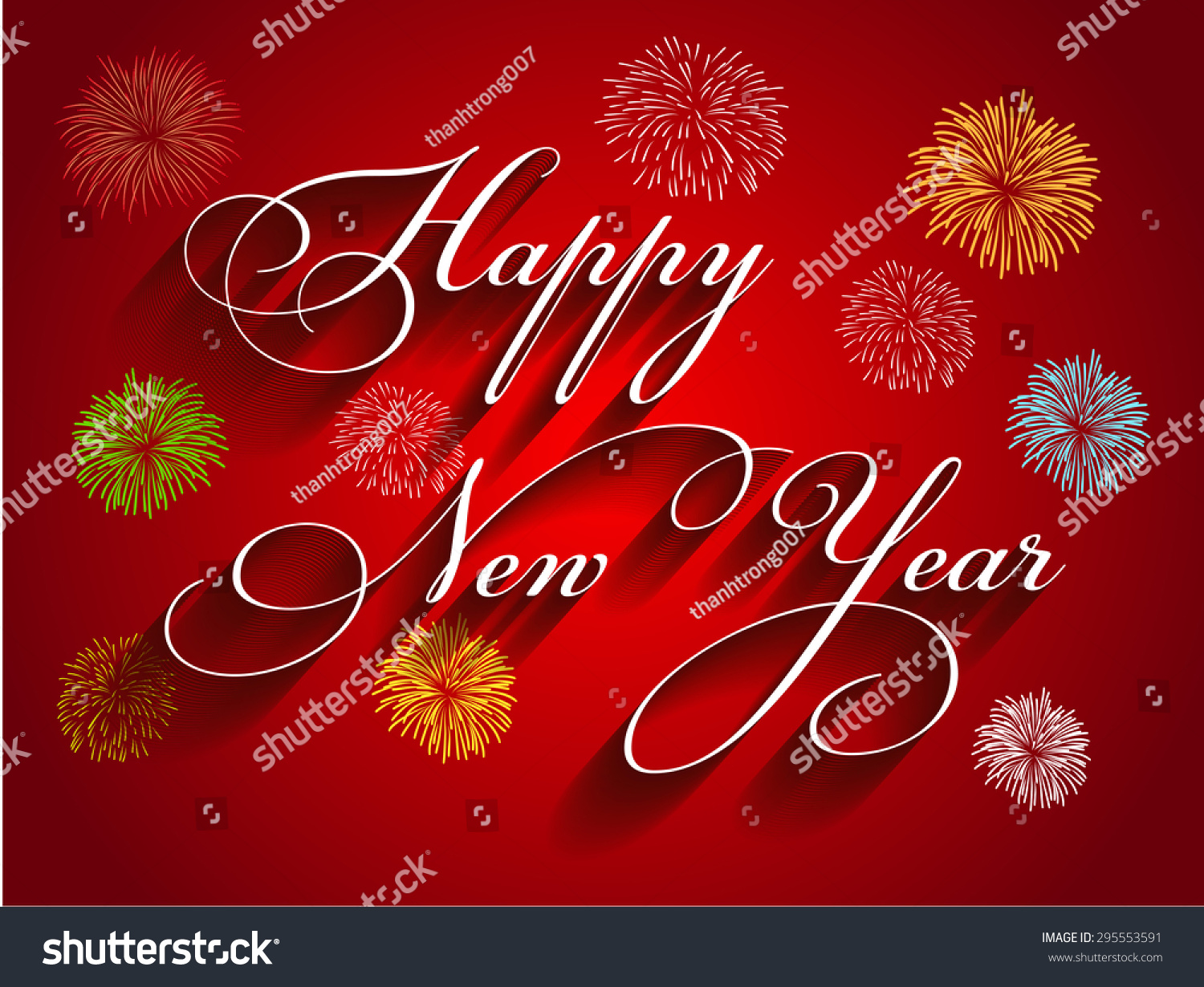 beautiful text happy new year with fireworks illustration