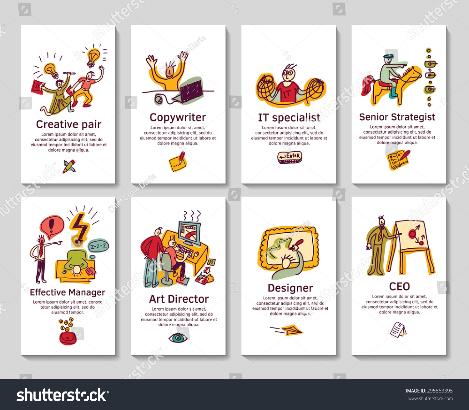 Creative Business Cards Banners Funny Icons Stock Vector