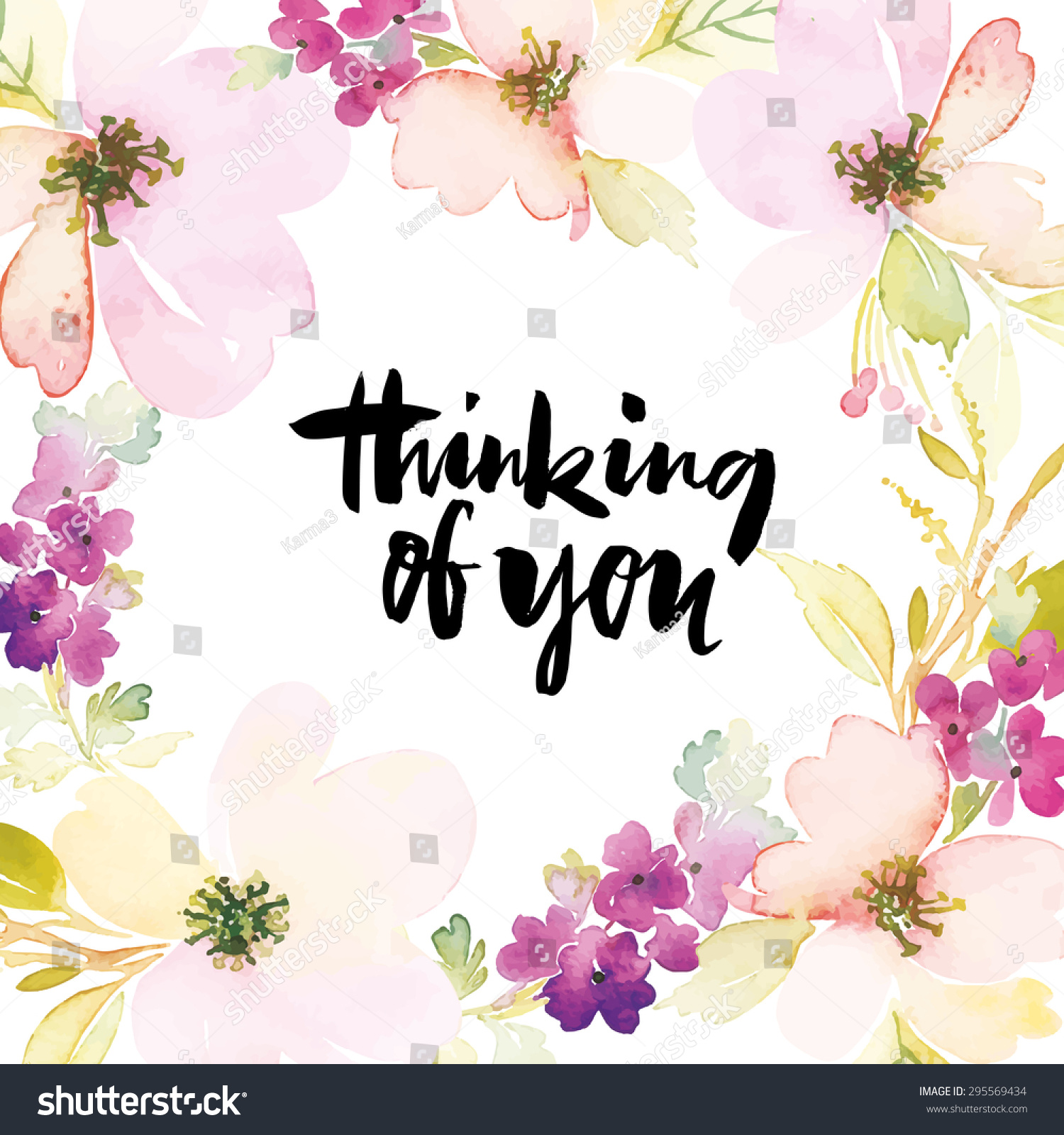 Watercolor Greeting Card Flowers Handmade Thinking Stock Vector