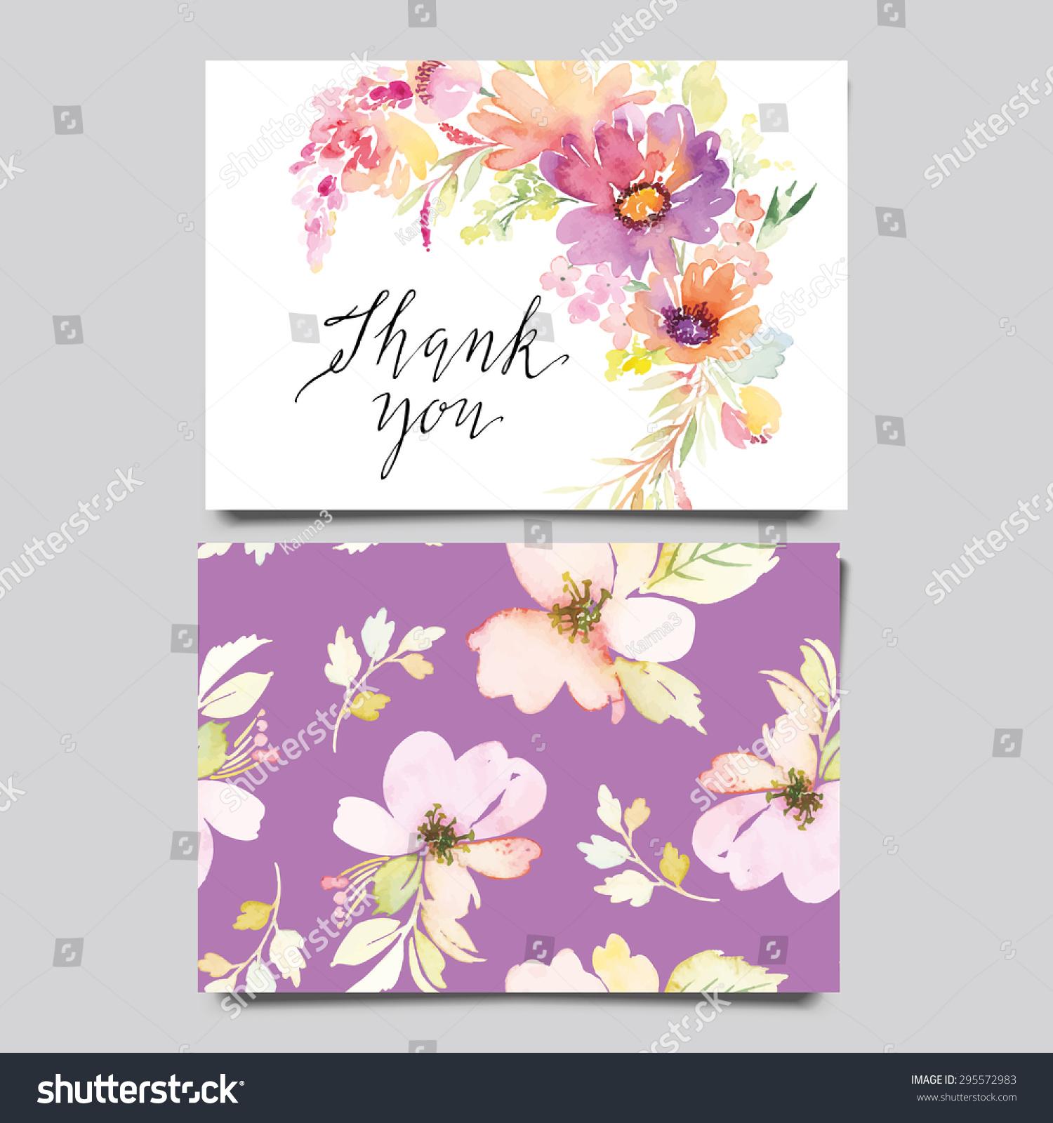 Watercolor Greeting Card Flowers Handmade Congratulations Stock